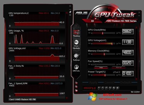 Ekraanipilt ASUS GPU Tweak Windows 7