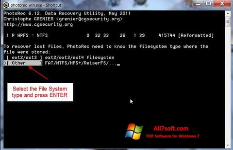 Ekraanipilt PhotoRec Windows 7