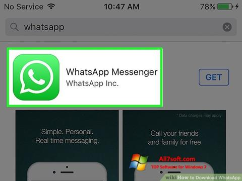 Ekraanipilt WhatsApp Windows 7