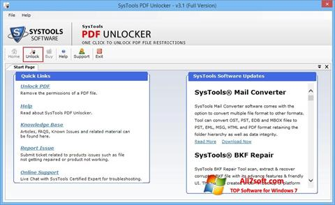 Ekraanipilt PDF Unlocker Windows 7