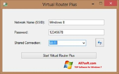 Ekraanipilt Virtual Router Plus Windows 7