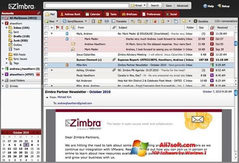 Ekraanipilt Zimbra Desktop Windows 7