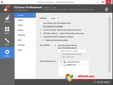 Ekraanipilt CCleaner Windows 7