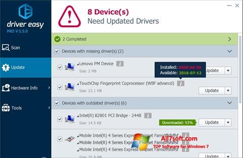 Ekraanipilt Driver Easy Windows 7