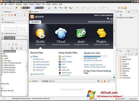 Ekraanipilt Aptana Studio Windows 7