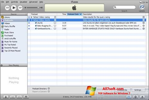 Ekraanipilt iTunes Windows 7