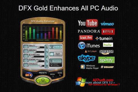 Ekraanipilt DFX Audio Enhancer Windows 7