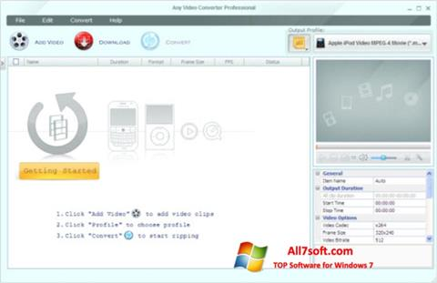 Ekraanipilt Any Video Converter Windows 7