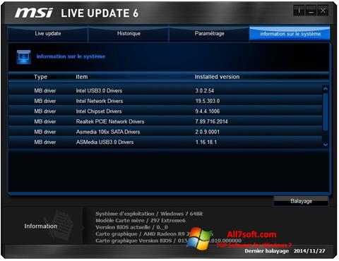 Ekraanipilt MSI Live Update Windows 7