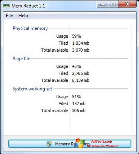 Ekraanipilt Mem Reduct Windows 7