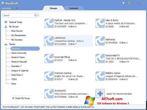 Ekraanipilt RaidCall Windows 7