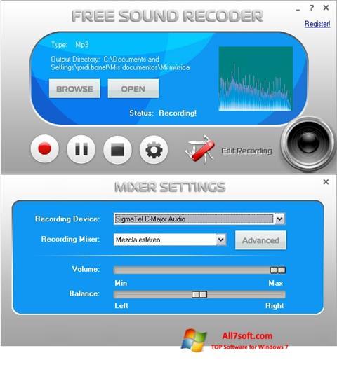 Ekraanipilt Free Sound Recorder Windows 7