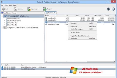 Ekraanipilt Active Partition Recovery Windows 7