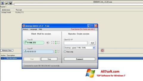Ekraanipilt Ammyy Admin Windows 7
