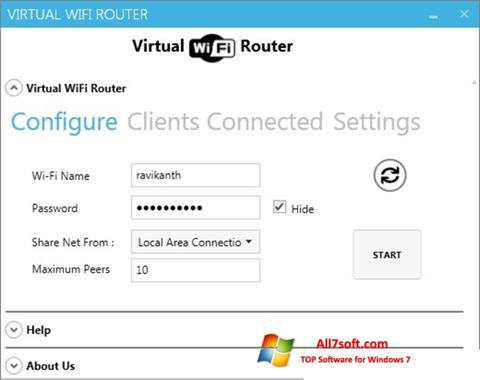 Ekraanipilt Virtual WiFi Router Windows 7