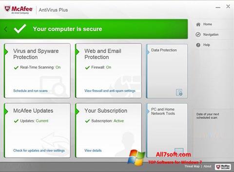 Ekraanipilt McAfee AntiVirus Plus Windows 7