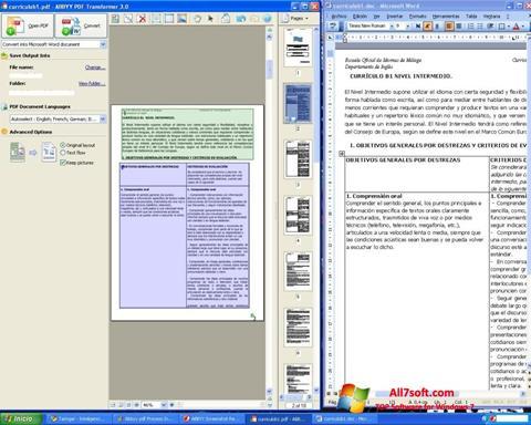 Ekraanipilt ABBYY PDF Transformer Windows 7