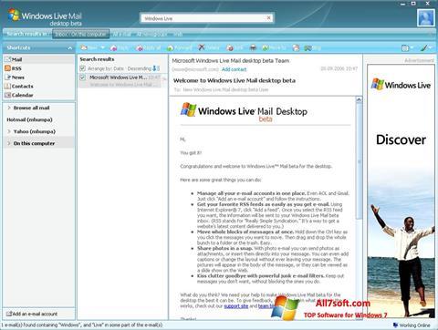 Ekraanipilt Windows Live Mail Windows 7