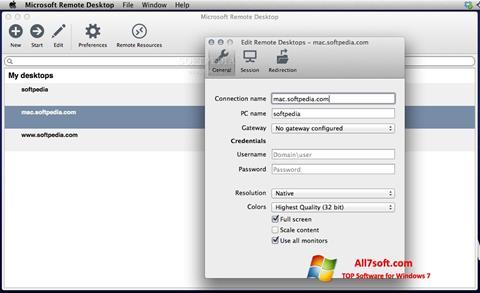 Ekraanipilt Microsoft Remote Desktop Windows 7