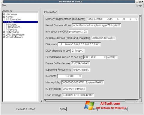 Ekraanipilt PowerTweak Windows 7