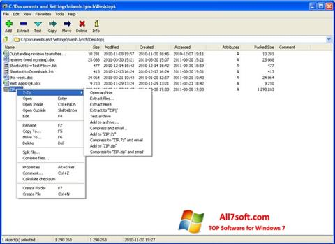 Ekraanipilt 7-Zip Windows 7