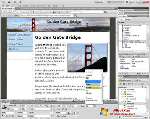 Ekraanipilt Adobe Dreamweaver Windows 7