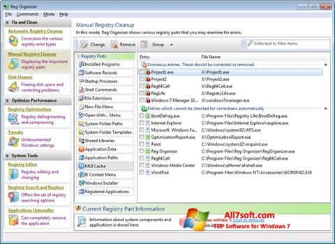 Ekraanipilt Reg Organizer Windows 7
