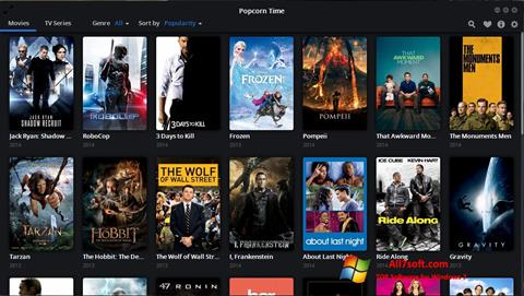 Ekraanipilt Popcorn Time Windows 7