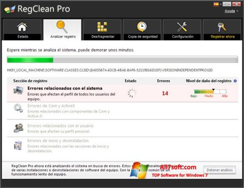 Ekraanipilt RegClean Pro Windows 7