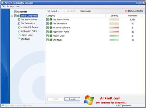 Ekraanipilt Auslogics Registry Cleaner Windows 7