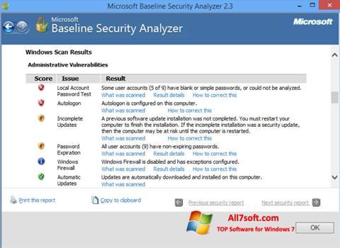Ekraanipilt Microsoft Baseline Security Analyzer Windows 7