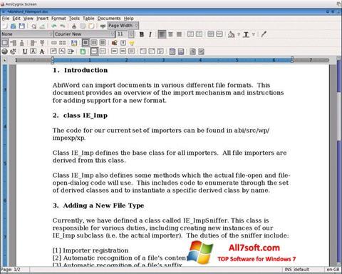 Ekraanipilt AbiWord Windows 7