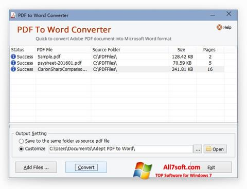 Ekraanipilt PDF to Word Converter Windows 7