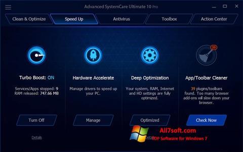 Ekraanipilt Advanced SystemCare Ultimate Windows 7
