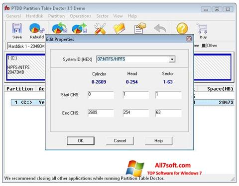 Ekraanipilt Partition Table Doctor Windows 7
