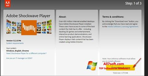 Ekraanipilt Adobe Shockwave Player Windows 7