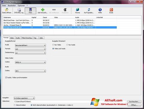 Ekraanipilt XMedia Recode Windows 7