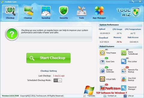 Ekraanipilt Toolwiz Care Windows 7