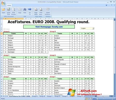 Ekraanipilt Excel Viewer Windows 7