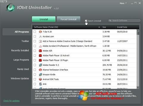 Ekraanipilt IObit Uninstaller Windows 7