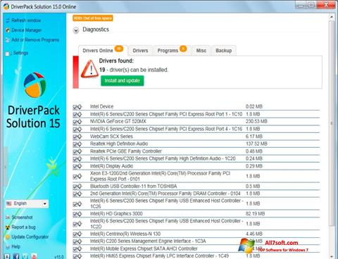 Ekraanipilt DriverPack Solution Windows 7