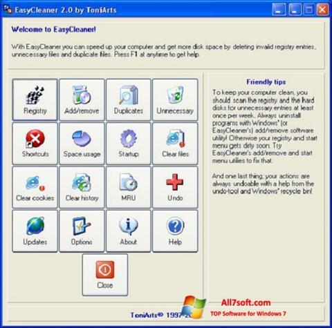 Ekraanipilt EasyCleaner Windows 7