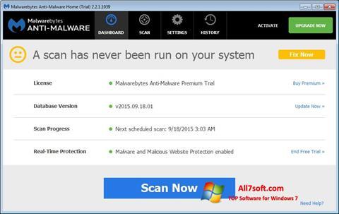 Ekraanipilt Malwarebytes Anti-Malware Free Windows 7