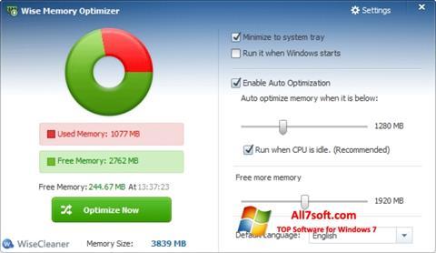 Ekraanipilt Wise Memory Optimizer Windows 7