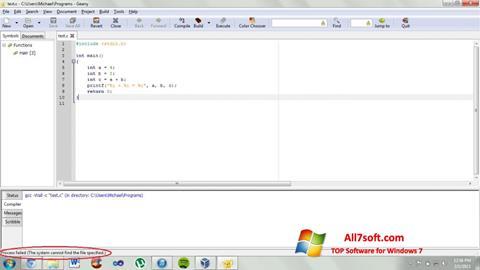 Ekraanipilt Geany Windows 7