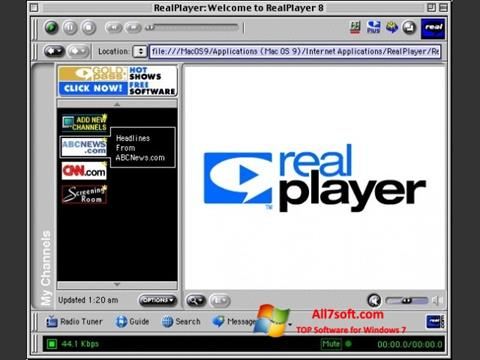 Ekraanipilt RealPlayer Windows 7