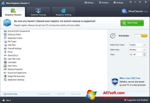 Ekraanipilt Wise Registry Cleaner Windows 7