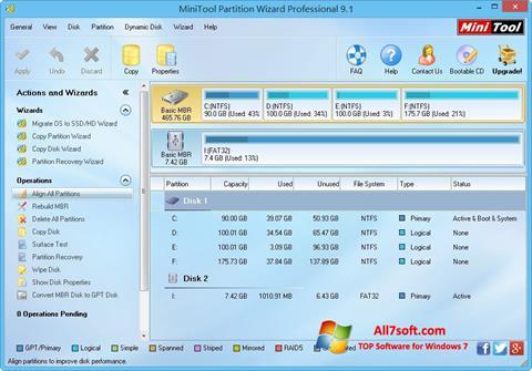 Ekraanipilt MiniTool Partition Wizard Windows 7