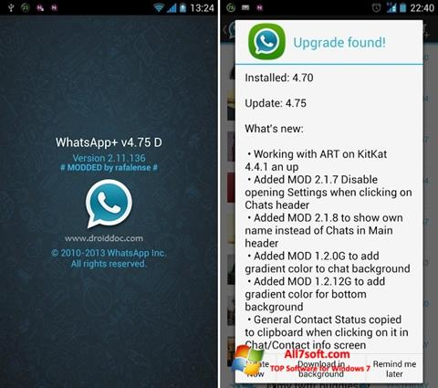 Ekraanipilt WhatsApp Plus Windows 7