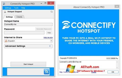 Ekraanipilt Connectify Hotspot Windows 7